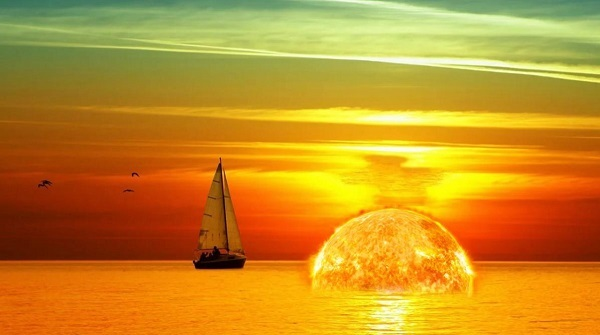В Калифорнии солнце село прямо посередине океана